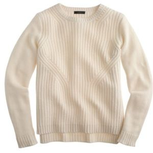 J. Crew Lambswool Pointelle Sweater in Ivory